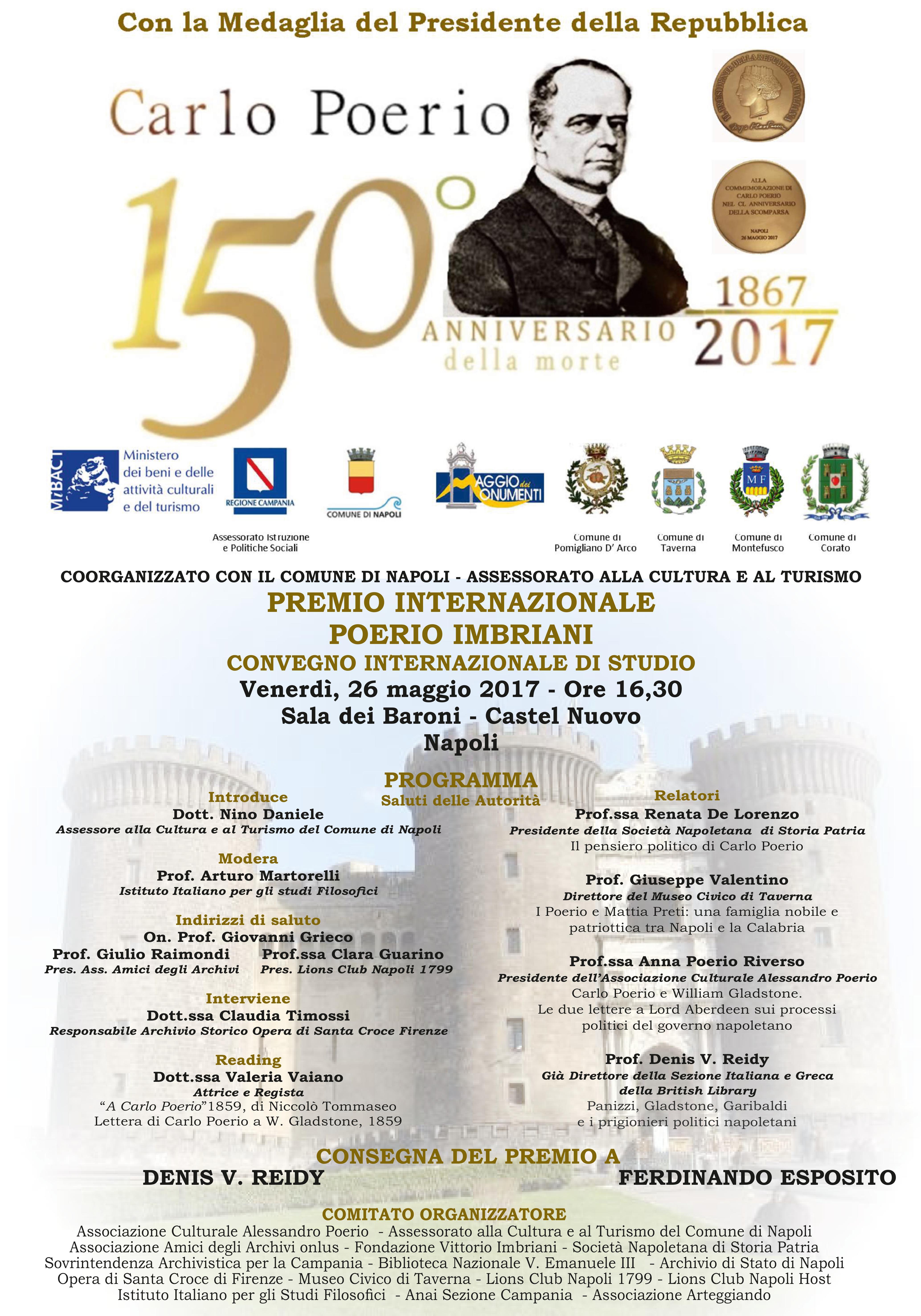 Manifesto 150º Anniversario della morte di Carlo Poerio
